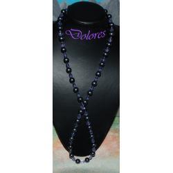 Długi naszyjnik z perłami Majorka i fioletowymi kryształkami Na rękę