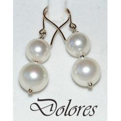 Srebrne kolczyki z białymi perłami Majorka