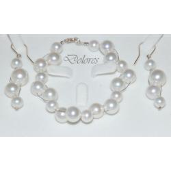 Srebrna bransoletka i kolczyki z białych pereł Majorka.