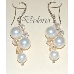 Srebrne kolczyki z białych pereł Majorka i kryształków Swarovskiego - AB i Golden Shadow Na rękę