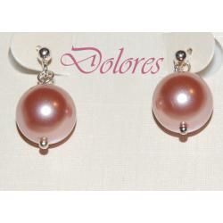 Kolczyki z różową perłą Majorka na srebrnych sztyftach