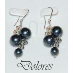 Srebrne kolczyki z perłami Majorka i kryształkami Swarovskiego