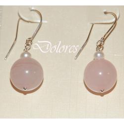 Srebrne kolczyki z kwarcu różowego i perłą słodkowodną Kolczyki