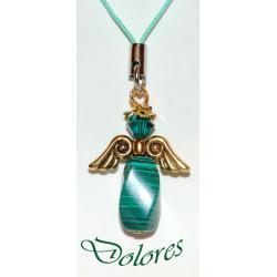 Malachitowy aniołek ze skrzydłami koloru złotego i kryształową główką (kryształek Swarovskiego) Komplety