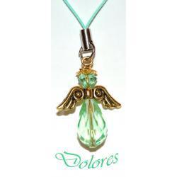 Zielony aniołek ze skrzydłami koloru złotego i kryształową główką Pozostałe
