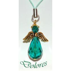 Szmaragdowy aniołek ze skrzydłami koloru złotego i kryształową główką (kryształek Swarovskiego)