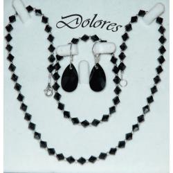 Naszyjnik, bransoletka i kolczyki z czarnych kryształków Swarovskiego i srebrnych kulek Na rękę