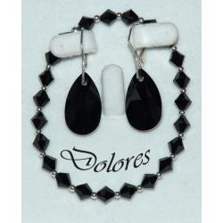 Bransoletka i kolczyki z czarnymi kryształkami Swarovskiego i srebrnych kulek Breloki