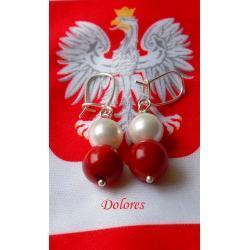 Biało-czerwone kolczyki z korala i perły Majorki na srebrnych zamykanych biglach Na rękę
