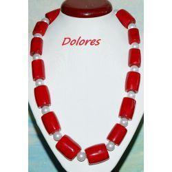 Naszyjnik z korala naturalnego i białych pereł Majorka ze srebrnym zapięciem Na rękę