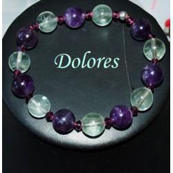 Bransoletka z 1 cm ametystowych i fluorytowych kulek z kryształkami Swarovskiego
