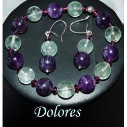 Bransoletka i kolczyki z 1 cm ametystowych i fluorytowych kulek, z kryształkami Swarovskiego