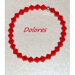 Bransoletka z czerwonych kryształków Swarovskiego 6 mm