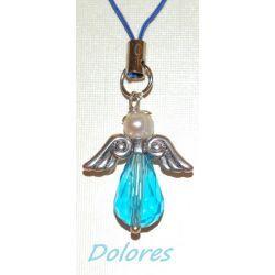 Niebieski aniołek z główką z perły słodkowodnej na mądrość Komplety