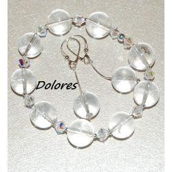 Srebrne kolczyki i bransoletka z kryształu górskiego 12 mm i kryształków Swarovskiego 4 mm i srebrnych kulek 2mm Na rękę