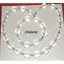 Naszyjnik i bransoletka z kryształu górskiego 12 mm, kryształków Swarovskiego 4 mm i srebrnych kukek 2 mm ze srebrnym zapięciem Na rękę