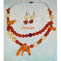 Naszyjnik i kolczyki z korala, bursztynu, perły i górskiego jadeitu fioletowego na srebrnym łańcuszku