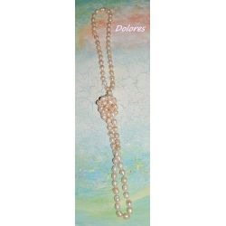 Długi sznur pereł słodkowodnych (bryłki ok 1 cm) koloru ecru Korale