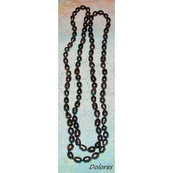 Długi sznur pereł słodkowodnych w kolorze stalowym - bryłki 10-15 mm Korale