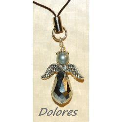Srebrzysty aniołek z główką z perły Majorka ze skrzydełkami z serduszkiem