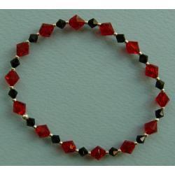 Czarno-czerwona bransoletka z kryształów Swarovskiego  Na rękę