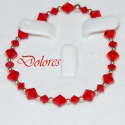 Bransoletka czerwona z kryształkami Swarovskiego i srebrnymi kulkami 2,5 mm Korale
