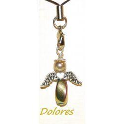 Tęczowy aniołek z hematytu z główką z perły Majorka - odwaga, siła, ochrona domu Na rękę