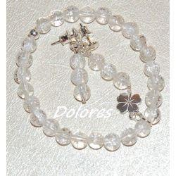 Srebrne kolczyki i bransoletka z lodowego kryształu górskiego ze srebrną koniczynką na szczęście