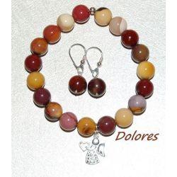 Srebrne kolczyki i bransoletka z 1 cm kulek jaspisu mokait ze srebrnym aniołkiem, który spełnia życzenia