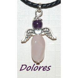Wisiorek - aniołek z kwarcu różowego z główką z ametystu na mądrą miłość i młodość Na rękę
