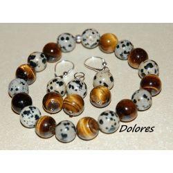 Bransoletka, srebrne kolczyki i wisiorek z 1 cm kulek z tygrysiego oka i kamienia dalmatyńskiego