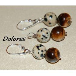 Srebrne kolczyki i wisiorek z 1 cm kulek z tygrysiego oka i kamienia dalmatyńskiego