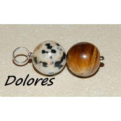 Wisiorek z 1 cm kulki tygrysiego oka i kamienia dalmatyńskiego