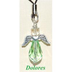 Zielony aniołek z główką z fasetowanego cytrynu - nadzieja, bogactwo i szczęście Biżuteria i Zegarki