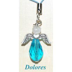 Niebiański aniołek z główką z lodowego kryształu górskiego Biżuteria i Zegarki
