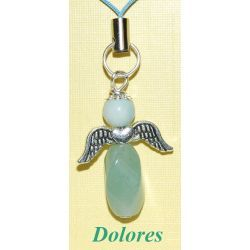 Aniołek z awenturynu z główką z amazonitu - na mądre podejmowanie decyzji Biżuteria i Zegarki