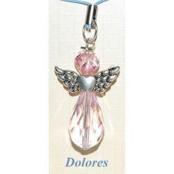Różowy aniołek. Główka - kryształ Swarovskiego. Pozostałe