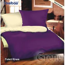 Pościel satynowa jednobarwna BIELBAW 220x200 - FIOLET/KREM