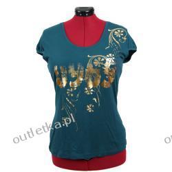 Koszulka damska, VETO, kolor petrol ze złotym nadrukiem