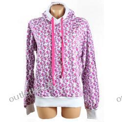 Bluza z kapturem, VERO MODA, biała w różowy wzór