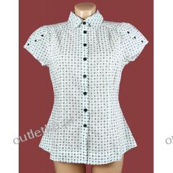 Bluzka damska, FRANSA, biała w drobny wzorek