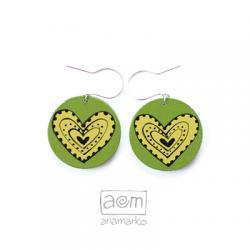 kolczyki - zielone serca