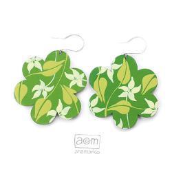 kolczyki - kwiatuszki zielone