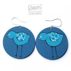 kolczyki - niebieskie ptaki