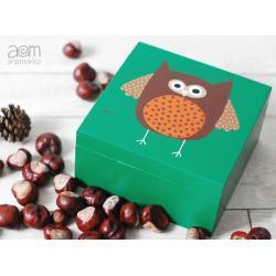pudełko 17x17 - sowa jesienna