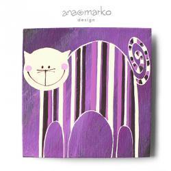 magnes - kociak fioletek