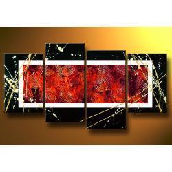 """""""black red white"""" obrazy nowoczesne strukturalny, ręcznie malowany na płótnie"""