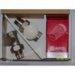 Zestaw termostatyczny kątowy ARCO - głowica + zawory