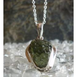 Naszyjnik wisior MOLDAVIT srebro 925 z lancuszkiem - 100% naturalny z gwarancja pochodzenia tylko 1 szt