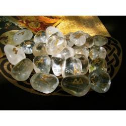 24 RUNY złocone na krysztale górskim - cudowne i magiczne dzieło sztuki
